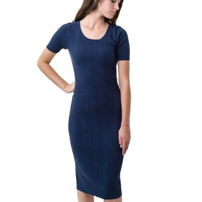 Hope & Henry Womens' Fitted Mini Cable Sweater Dress
