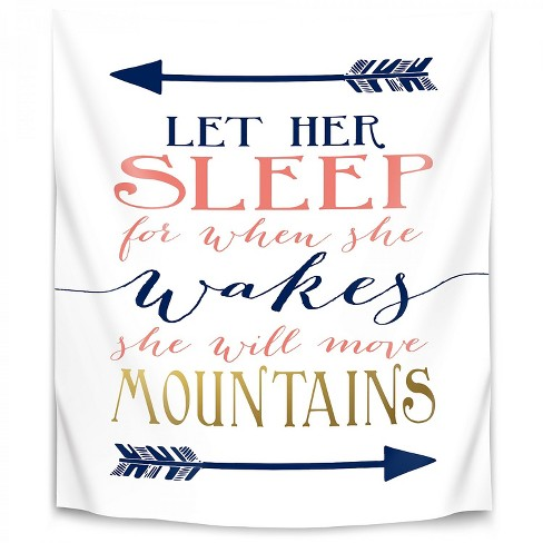 Let Her Sleep Coral Navy Gold By Wall Wonder Wall Tapestry Target