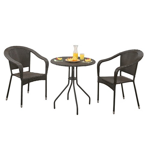Odette 3pc Metal Patio Bistro Set - Espresso - Abbyson Living - image 1 of 3