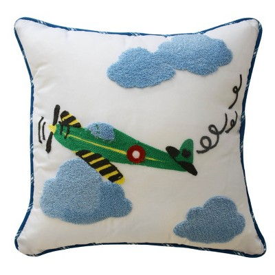 In the Clouds Airplane Throw Pillow (15 x15 )- Waverly Kids®