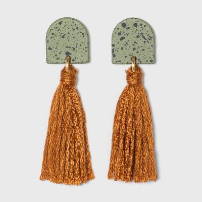 Speckled Half Moon and Tassel Drop Earrings - Universal Thread™