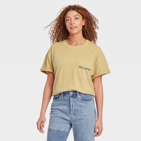 Women's Big Island Aloha Short Sleeve Graphic T-Shirt - Tan XS
