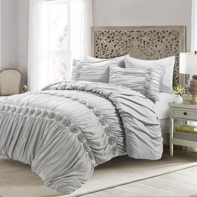 King 3pc Darla Comforter & Sham Set Light Gray - Lush Décor