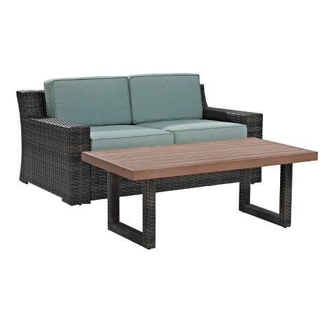 Beaufort 2 Pc Outdoor Wicker Seating Set With Mist Cushion