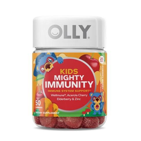 Kids Olly Mighty Immunity Vitamin Gummies - Cherry Berry - 50ct - image 1 of 4