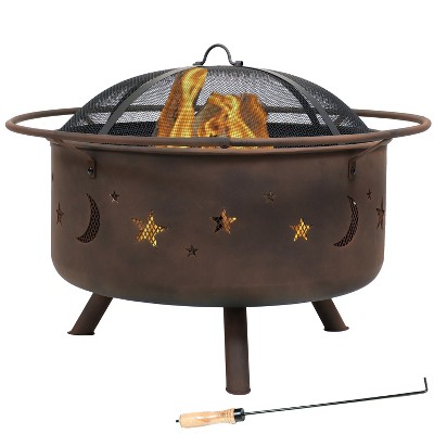 "Cosmic Stars and Moon 30"" Wood Burning Fire Pit With Cooking Grill - Round - Sunnydaze Decor"