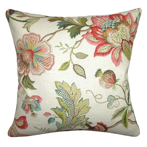 multi colored spring floral throw pillow 18x18 the pillow collection - The Pillow Collection