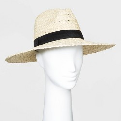 Women's Straw Wide Brim Fedora Hats - Universal Thread™ Natural One Size
