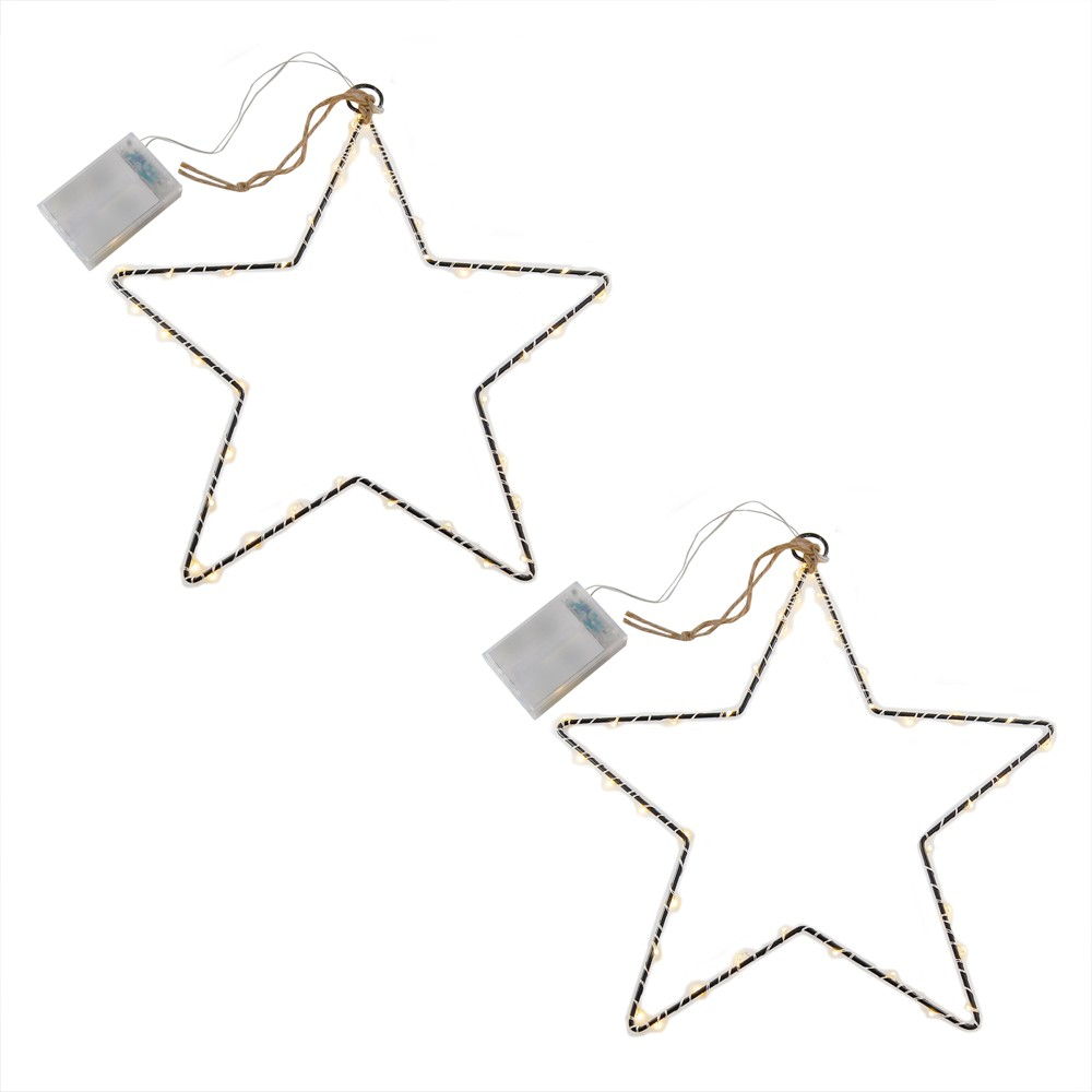 Image of 2ct Battery Operated Metal Stars With Mini LED String Lights And Timer White - LumaBase