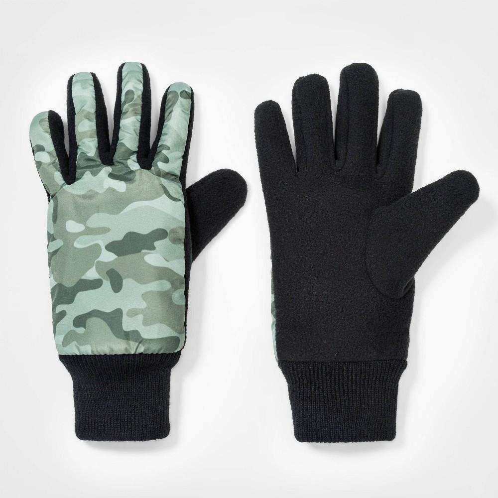 Boys' Colorblock Fleece Gloves - Cat & Jack 4-7, Black/Green thumbnail