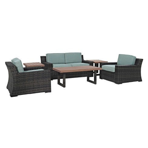 Beaufort 6pc All-Weather Wicker Patio Seating Set - Brown/Mist - Crosley - image 1 of 5