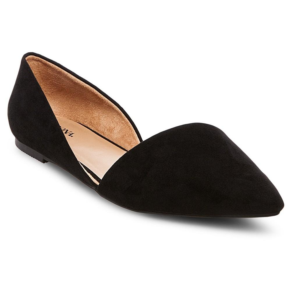 Women's Poppy d'Orsay Pointed Toe Ballet Flats - Merona Black 9.5