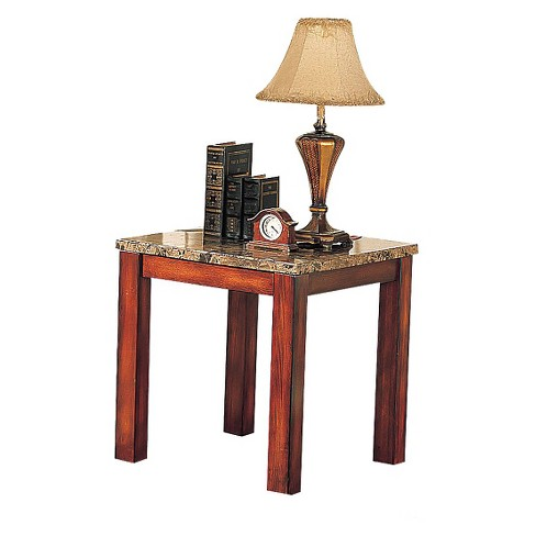 Bologna End Table Brown Marble & Brown Cherry - ACME - image 1 of 2