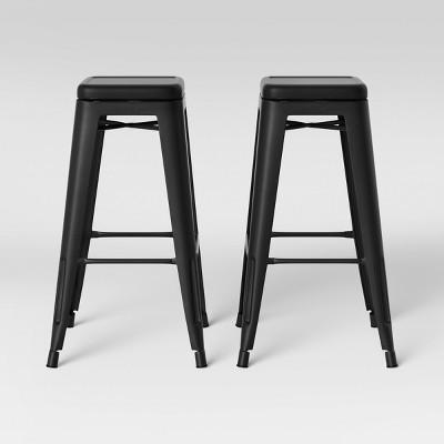 Set of 2 Carlisle Backless Swivel Barstool Matte Black - Threshold™