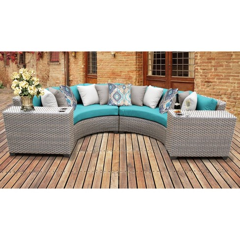 Florence 4pc Outdoor Curved Sectional, Round Outdoor Sectional