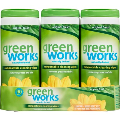 Green Works Compostable Cleaning Wipes Original Fresh - 30ct/3pk