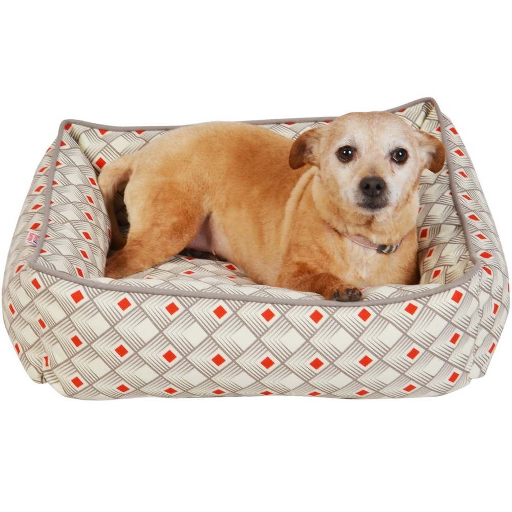 Euro Rectangle Cuddler Printed Dog Bed - Red Diamond - Small - Boots & Barkley, Gray