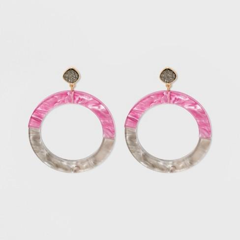 SUGARFIX by BaubleBar Colorful Resin Hoop Earrings with Druzy - image 1 of 5