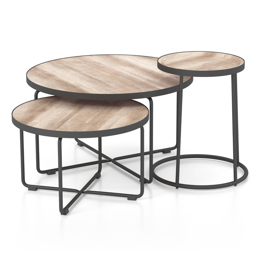 3pc Favass Occasional Table Set Sand Gun Metal Natural Tone Mibasics