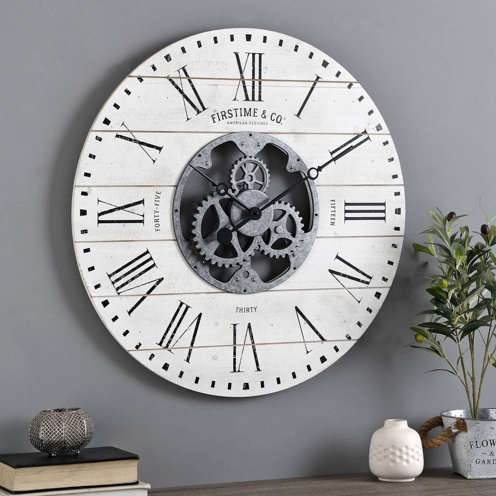 27 Shiplap Farmhouse Gears Wall Clock Aged White - FirsTime & Co. Coupons