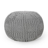 Deals on Christopher Knight Hortense Modern Knitted Cotton Round Pouf