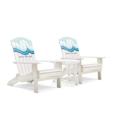 Adirondack 3pc Folding Chairs & Side Table Cream - Life is Good
