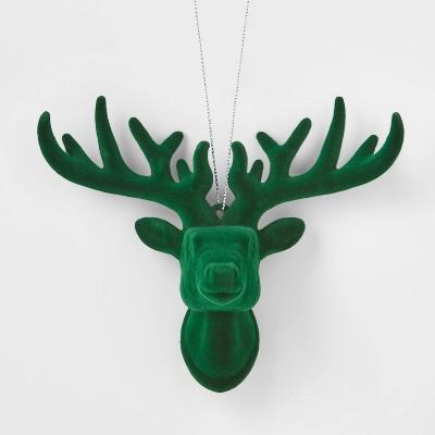 Flocked Deer Head Christmas Tree Ornament Green - Wondershop™