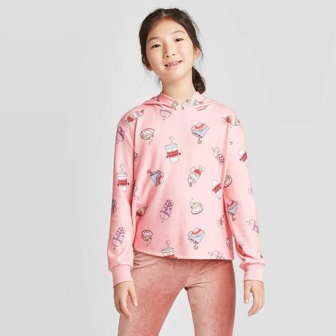 Girls' Printed Hoodie - art class™ Pink L - image 1 of 3