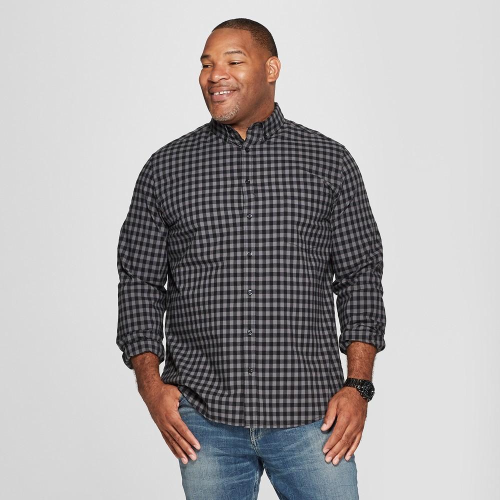 Men's Tall Plaid Standard Fit Long Sleeve Northrop Poplin Button-Down Shirt - Goodfellow & Co Charcoal (Grey) LT