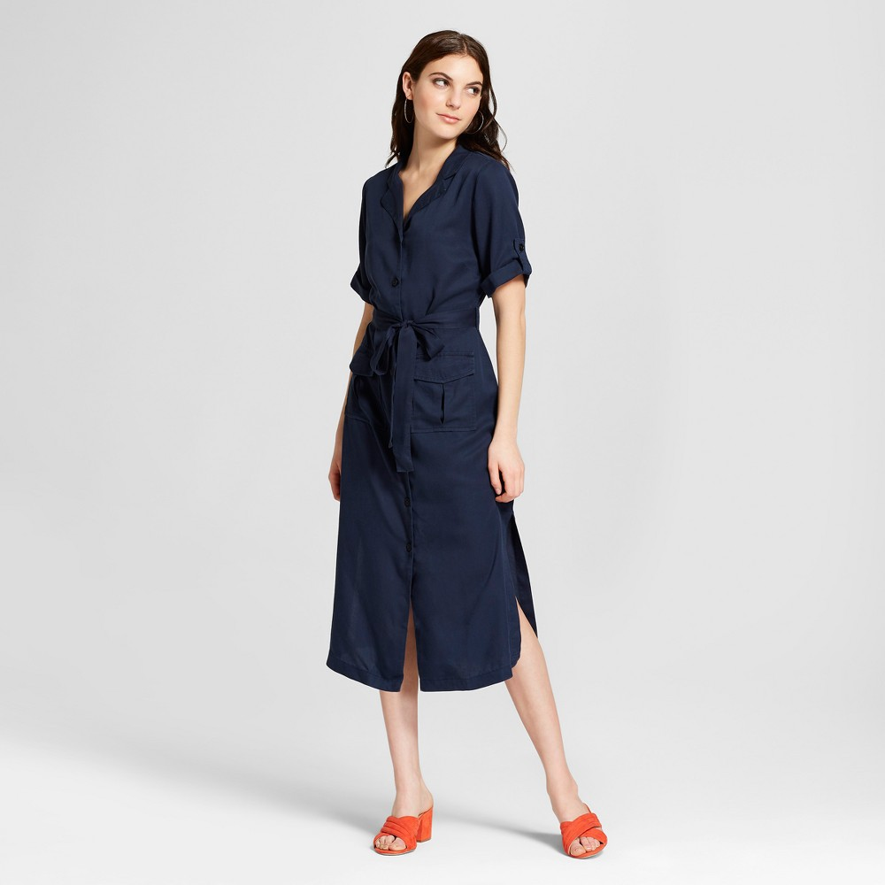 Women's Turn back Cuff Elbow Sleeve Collared Tie Waist Midi Dress - Alison Andrews Blue XL