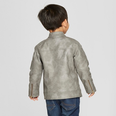7a17eb6d5 Toddler Boys  Faux Leather Moto Jacket - Cat   Jack™ Gray 4T   Target