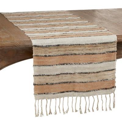 """72"""" x 16"""" Cotton Wide Stripe Table Runner Beige - Saro Lifestyle"""