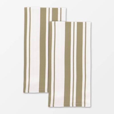"""20""""x 30"""" 2pk Cotton Stripe Kitchen Towel Beige - Mu Kitchen"""