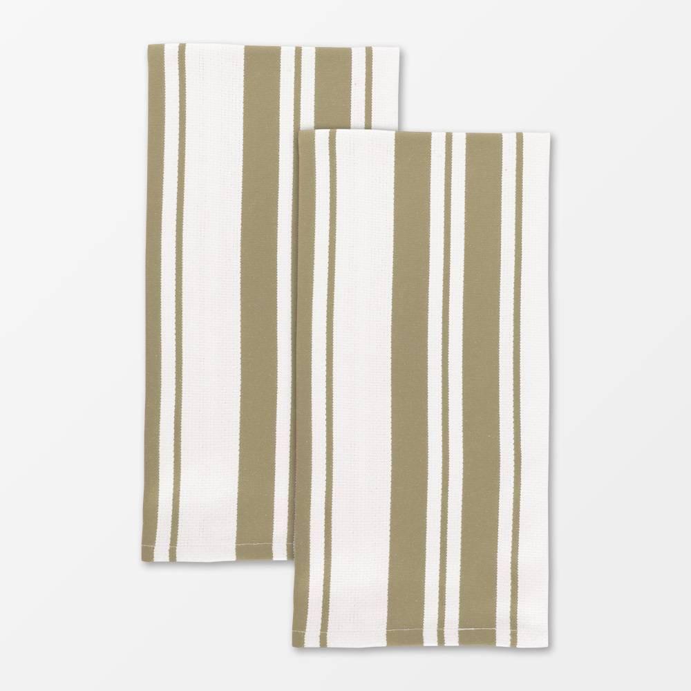 """Image of """"20""""""""x 30"""""""" 2pk Cotton Stripe Kitchen Towel Beige - Mu Kitchen"""""""