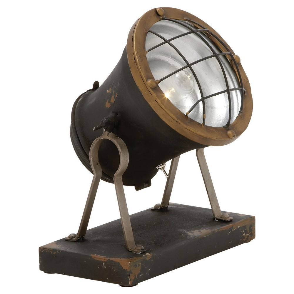 Vintage Reflections Rustic Iron Tripod Spotlight with LEDs (11) - Olivia & May, Multi-Colored