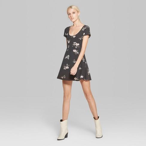 8db3e95839b Women s Floral Print Short Sleeve Scoop Neck Knit Skater Dress - Wild Fable™  Black