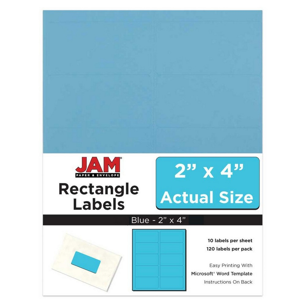"""Image of """"JAM Paper Mailing Labels 2"""""""" X 4"""""""" 120ct - Blue"""""""