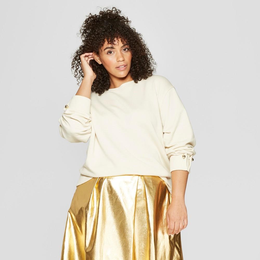 Women's Plus Size Long Sleeve Round Metal Button Sweatshirt - Who What Wear Cream (Ivory) 3X