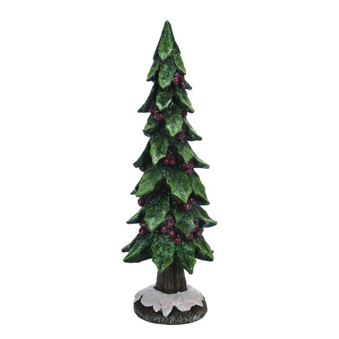 Transpac Resin 16 In Green Christmas Holly Tree With Metallic Red Berries Target