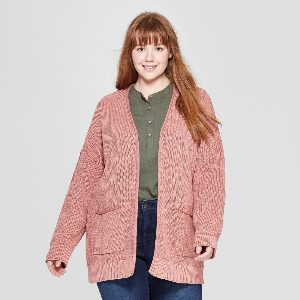 Women's Plus Size Long Sleeve Open Layering Cardigan - Universal Thread Rose (Pink) X