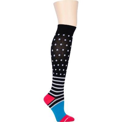 Dr. Motion Women's Mild Compression Dots Over Stripes Knee High Socks - Black/Blue/Pink 4-10