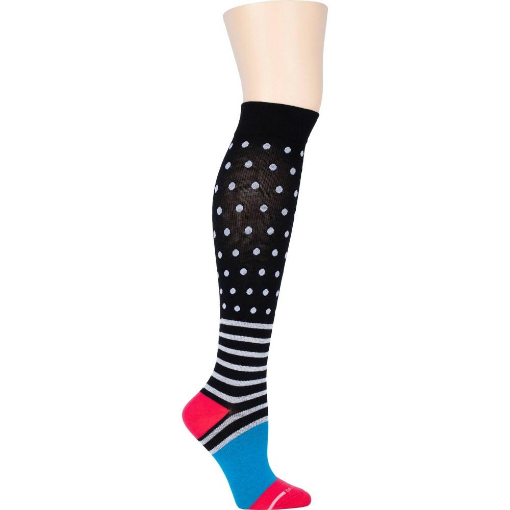 Dr Motion Women S Mild Compression Dots Over Stripes Knee High Socks Black Blue Pink 4 10