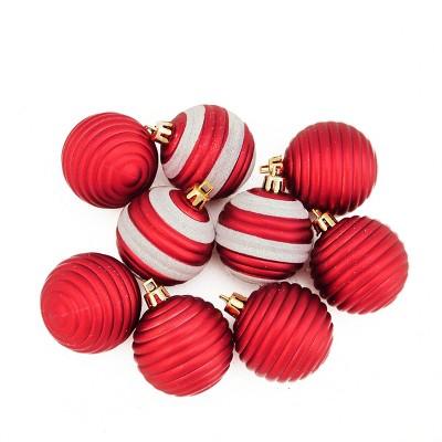 "Northlight 9ct Matte Glitter Striped Shatterproof Christmas Ball Ornament Set 2"" - Red/White"