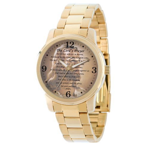Men's eWatchfactory The Lords Prayer Religious Bracelet Watch - Gold - image 1 of 2