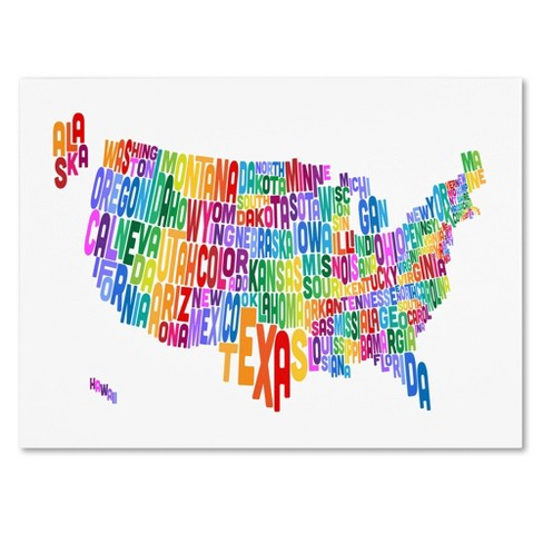 \'USA States Text Map 3\' by Michael Tompsett Ready to Hang Canvas Wall Art