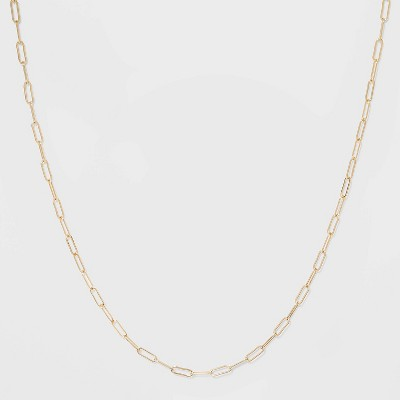 Paper Clip Chain Short Necklace - A New Day™ Gold