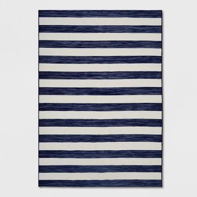 7' x 10' Worn Stripe Outdoor Rug Navy - Threshold™