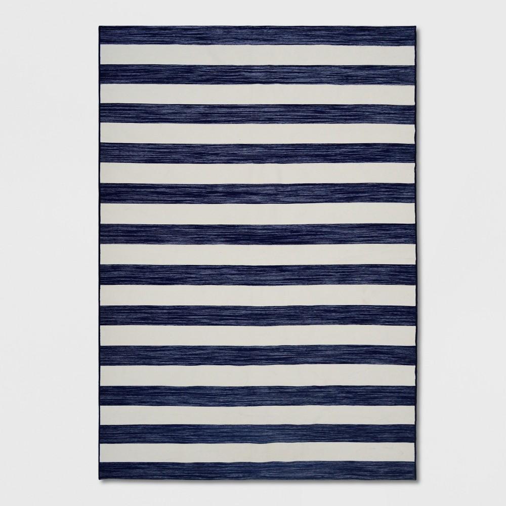 7' x 10' Worn Stripe Outdoor Rug Navy (Blue) - Threshold
