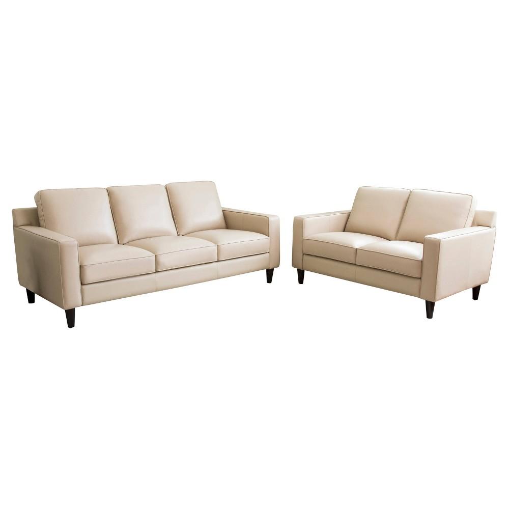 Image of 2pc Olivia Top Grain Leather Sofa & Loveseat Set Cream - Abbyson Living