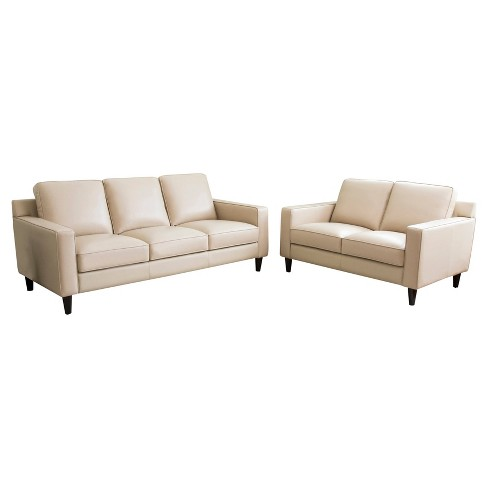 2pc Olivia Top Grain Leather Sofa & Loveseat Set Cream - Abbyson Living